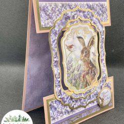 Handmade Birthday centre panel card Hare Rabbit Hoppy Birthday free post