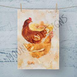 Tea Towel Chicken Hen - 100% Cotton Poplin **Exclusive** (Copy)