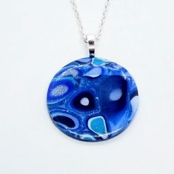 Klimt inspired blue round pendant in blue, turquoise and silver