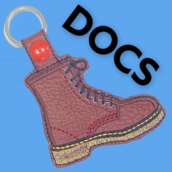 Embroidered ox blood Doc Marten key fob