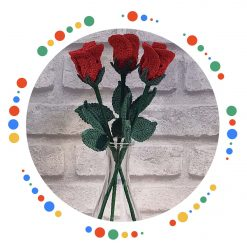 Crochet Roses stem in 100% cotton yarn and various colours
