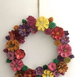 """Pine cone flower wreath/Centre piece 11.5"""" spring colours A stunning bespoke hand painted wreath  Ideal house warming gift (includes p&p)"""