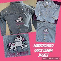 Embroidered Girls Denim Jacket Unicorn Design