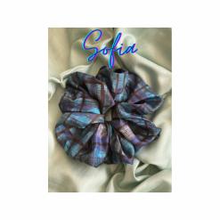 Oversized Sofia Hair Scrunchie (Blue Print)