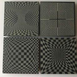 Slate Coaster Optical Illusion Set of 4