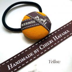 Hermes ribbon hairband/ hairtie- yellow