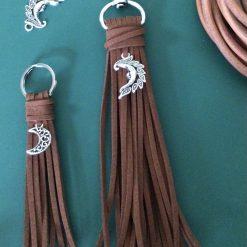 A. Suede Tassel Keychains 'Moon' pair