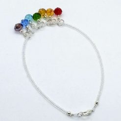 Beaded opalescent anklet with rainbow drops