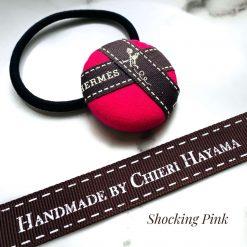 Hermes ribbon hairband/ hairtie- shocking pink