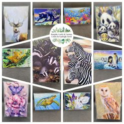 Multipack of handmade cards x12 any occasion stunning animal prints – set 2
