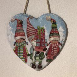 Christmas gnomes slate heart