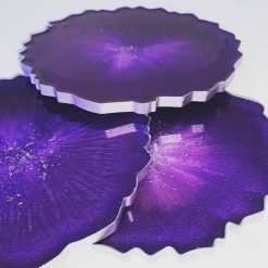 Resin Agate Coasters - Purple & Silver (Set of 4)