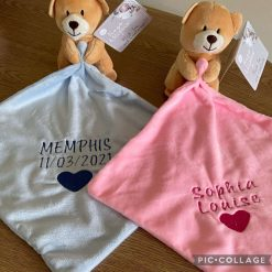 Personalised Embroidered Baby Comforter Bear