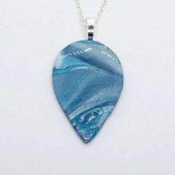 Sea shore 2. polymer clay teardrop pendant in seaside shades (Copy)