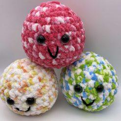 Large plush stress ball, hand crocheted