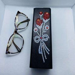 Glasses case, sunglasses case, solid case, red flowers decoration, glasses protection, gift,