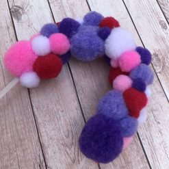 Red, Pink and Purple Pom Pom Arch Cake Topper | Celebration Cake Topper | Pom Pom Arch