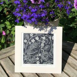 Blackbird print, Original limited edition linocut / lino print entitled 'Strawberry patch Blackbird'