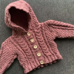 Hand knitted baby aran hoodie - 0-6 months