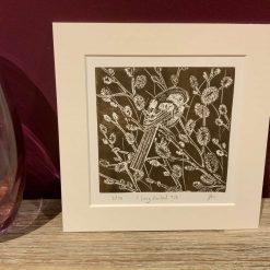 Garden bird print, Original limited edition linocut / lino print entitled 'long tailed tit'