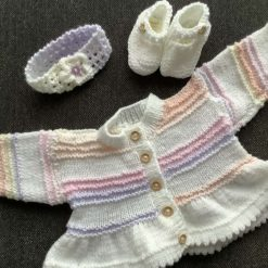 Hand knitted baby cardigan, headband and booties 0-6 months