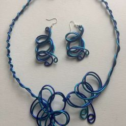 Unique Royal Blue and Turquoise Twisted Wire Jewellery  Set. Free p and p