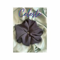 Oversized Celeste Hair Scrunchie (Dark Blue)