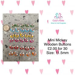 30 Wooden Mini Mickey Buttons