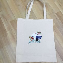 Camper van appliqué and embroidered tote bag