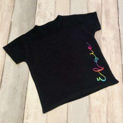 Kids personalised Sideways Script tshirt