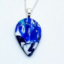 Swirly blue teardrop pendant in blue, silver and white