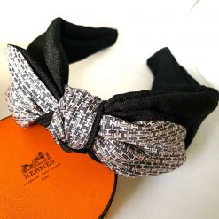 Hermes scarf upcycled - pink & grey H- Bunny ear style headband