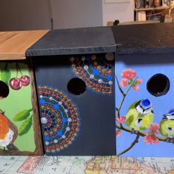Hand painted bird boxes