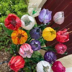 Upcycled single use plastic bottle Tulips