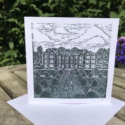 Hand printed linocut greetings card of Burton Agnes Hall, New home card, blank card, any occasion card