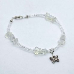 Beaded anklet with opalite moonstone and butterflies