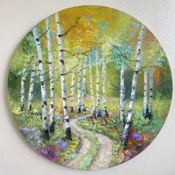 ''Autumn dance''.Palette knife oil painting. D: 15.8''