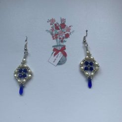 Pearl and Blue Earrings