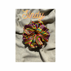 Oversized Sindy Hair Scrunchie (Colourful stripes)