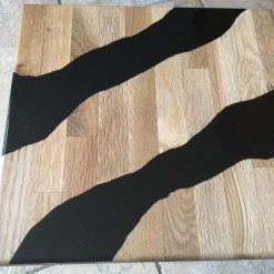 Small Oak Side Table Inlaid With Black Epoxy Resin
