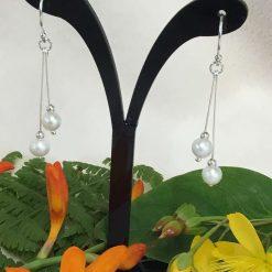 Turquoise Gemstone Long Drop Earrings Silver