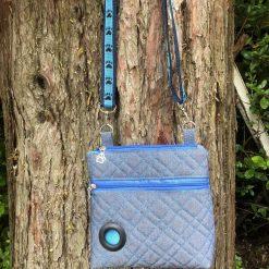 Dog Walking Bag, dog lover gift, crossbody bag, blue denim canvas waterproof lining