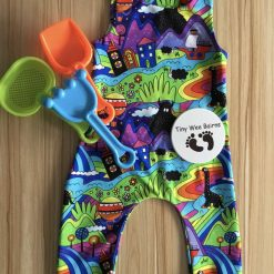 Handmade dungarees | monster pattern | age 12-18 months