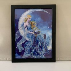 Lady spirit, moonlight, rhinestone picture, home decor, wall hanging, gift, present, framed picture