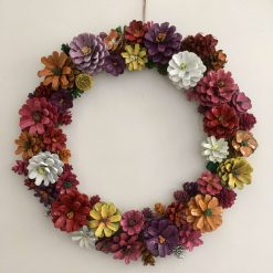 """Pine cone flower wreath/Centre piece 16"""" spring colours A stunning bespoke hand painted wreath  Ideal house warming gift (includes p&p)"""