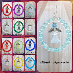 - Angel - Birthstone Inspired, Memorial / Guardian Angel - Handmade Suncatcher / Decoration