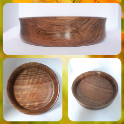 - Wood turned - dark wood bowl with beautiful linear grain (one off piece)