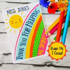 Plantable Card, Seeded Card Eco friendly, Personalised Teacher Card. Recycled, Biodegradable, Wildflowers