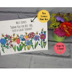 Plantable Card, Seeded Card Eco friendly, Personalised Teacher Card. Recycled, Biodegradable, Wildflowers (Copy)