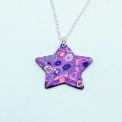 Klimt inspired star pendant in lilac, purple and pink